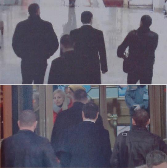 Поскольку на кадрах видеонаблюдения в материалах уголовного дела все четверо сняты входящими в гостиницу, можно с уверенностью опознать их по спинам, когда они вместе покидают отель. На верхнем кадре слева направо Геремеев, Дмитерко и Алиев, сзади них — Эскерханов. На нижнем кадре Геремеев первым подходит к двери, за ним слева направо — Эскерханов, Дмитерко и Алиев.