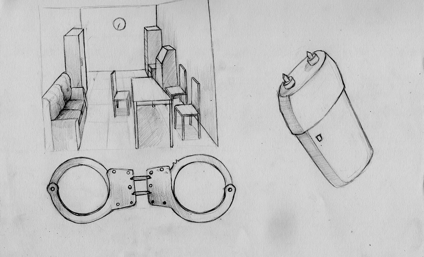 Комната в аэропорту Пулково, куда отвели Филинкова. Рисунок сделан по описанию Виктора его супругой Александрой